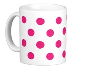 Hot Pink Polka Dot Coffee Mug