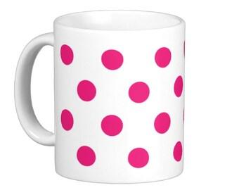 Hot Pink Polka Dot Coffee Mug, hs1087