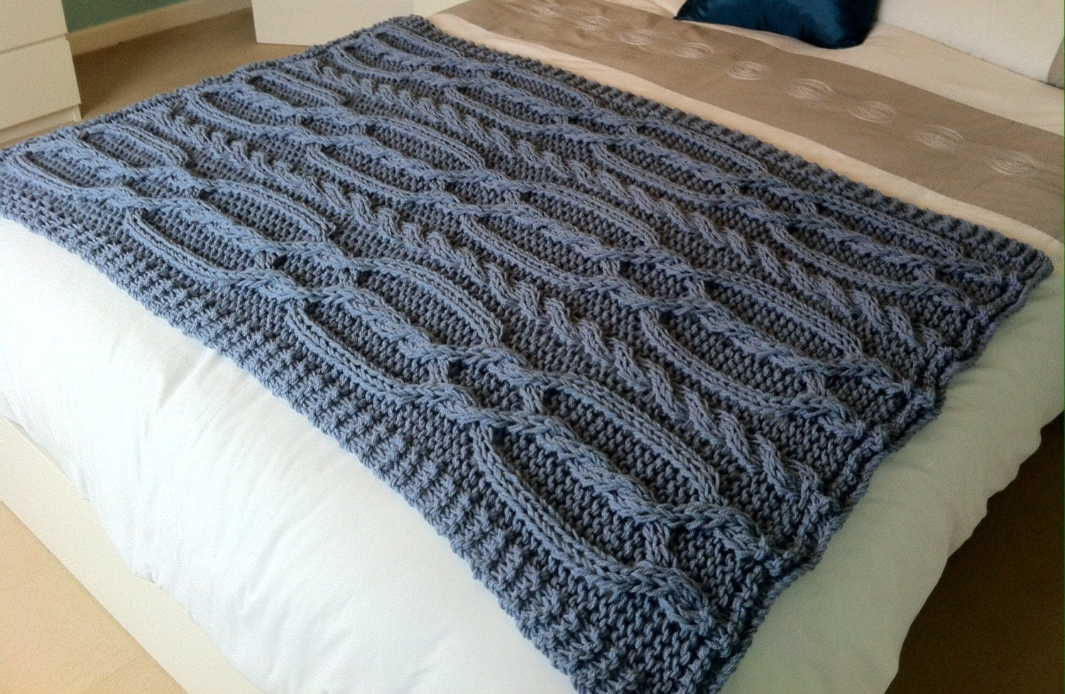 Chunky Cable Knit Blanket Pattern : Chunky cable hand knit blanket / throw Blue / grey.