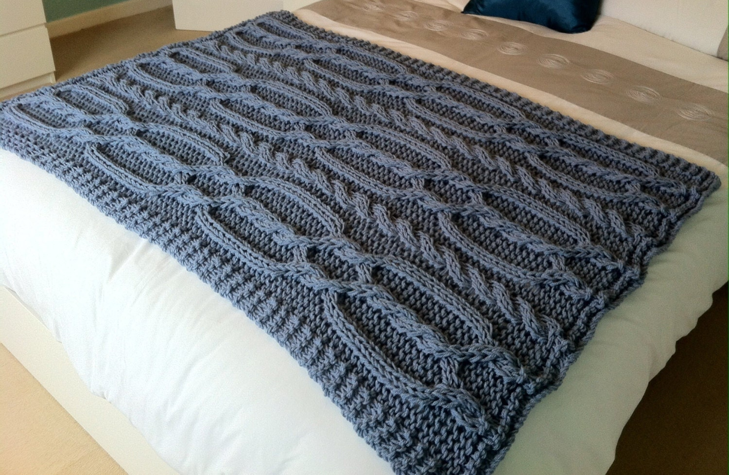Chunky cable hand knit blanket / throw Blue / grey.