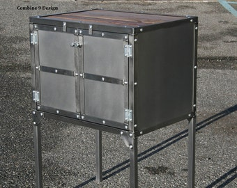 Vintage Industrial End Table/Side Table/. Unique. Reclaimed Wood and Steel.  Modern/Urban/Mid Century. Media Cabinet/Stereo Cabinet.  Custom