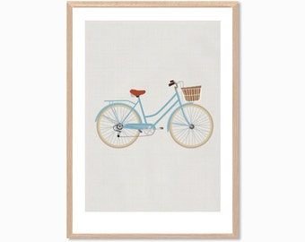 RETRO | Ride A Blue Bike Poster : Modern Bicycle Illustration Art Wall Decor Print