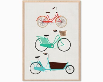 RETRO | Bikes And Cargo Poster : Modern Bicycle Illustration Retro Art Wall Decor Print