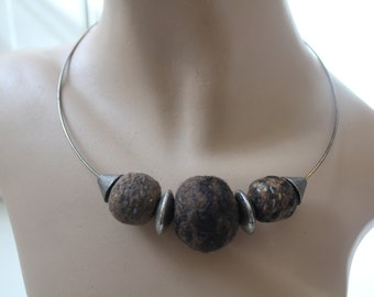 SALE! 1970s Felted Wool and Metal Necklace Vintage