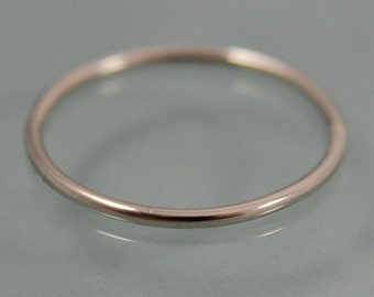 14k  SOLID White Gold Thin  Stacking Band Ring Smooth 1mm Shiny Finish Eco-Friendly Recycled Gold