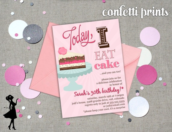 Birthday Invitation - EAT CAKE Printable