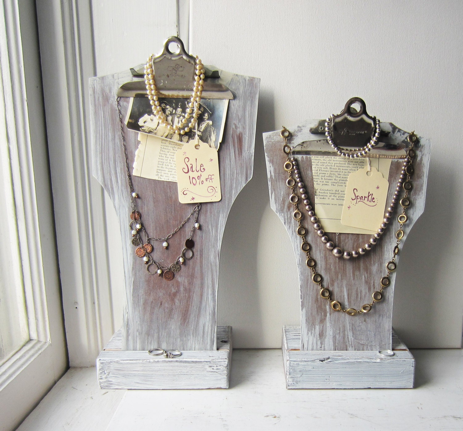 Your choice one white clipboard necklace bust display with for Jewelry displays