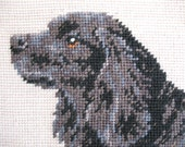 Reserved for Georgia~Not available for purchase~Black and Gray Spaniel Dog Needlepoint