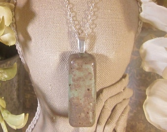 Memorial Large Bar Cabochon with Bail Pendant or Necklace - Custom Keepsake Stoneware Pottery Pet Cremains Charm - Choose Color