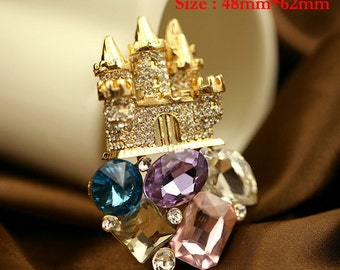 1PCS Bling Golden Crystal Castle Alloy jewelry Accessories materials supplies