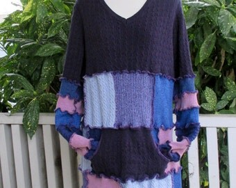 Plus Size Clothing - V Neck Sweater - Cotton Sweater - Gypsy Clothing - Long Sweater - Purple Sweater - Oversized Sweater - Knit Sweater
