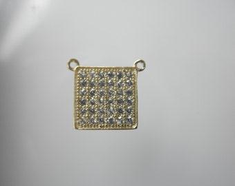 CZ gold vermeil square pendant