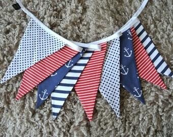 nautical marine shabby fabric garland, banners, bunting, room decor, anchor, anchors, navy blue, M13