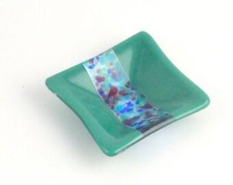 Jade Green Trinket Dish With Custom Stripe Fused Glass Dish FB216
