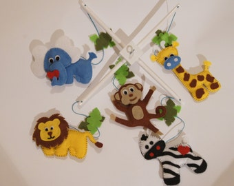 Ready to ship - Baby Crib Mobile - Music Baby Mobile - Felt Mobile - Nursery mobile - Funny jungle