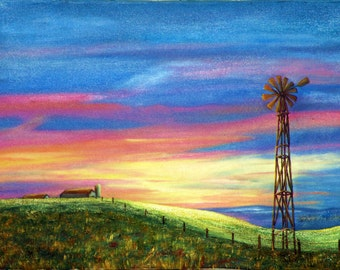 Day Break, a limited edition Giclee print on canvas of an Original Oil painting by Marilu, sunrise over farm with windmill