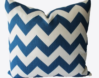 Decorative Chevron Kravet Marine Blue PillowCover, 18x18, 20x20, 22x22 or Lumbar Throw Pillow