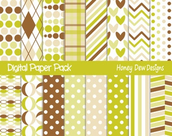 Instant Download - Digital Paper Pack 308 -  Green and Brown Patterned Paper
