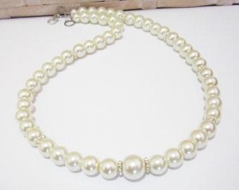 Ivory Pearl Flower Girl Necklace Set, Flower Girl Necklace and Earring Set, Flower Girl Pearl Necklace, Flower Girl Jewelry