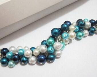 Bridesmaid Jewelry, Blue Bridesmaid Bracelet Cluster Bracelet Chunky Pearl Bracelet, Shades of Blue, Navy, Teal, Turquoise, Aqua