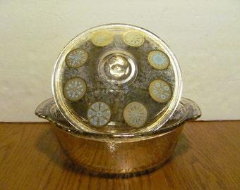 Mid Century Fire King Gold Flecked Casserole Aqua Medallions