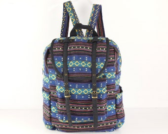 Blue/ Yellow Hipster Backpack, Adventure Backpack, University Backpack Tribal Woven Cotton Bag