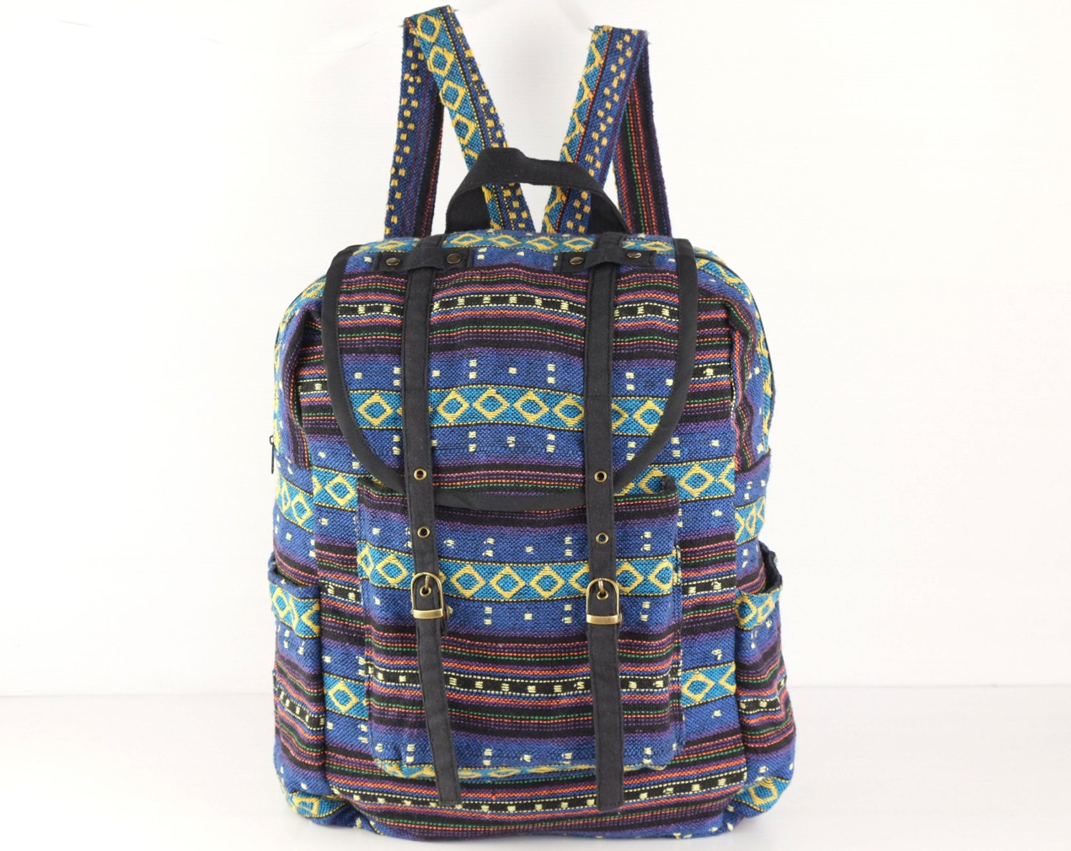 Blue Yellow Hipster Backpack Adventure Backpack University