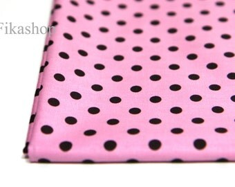 6mm Chocolate Dots in Pink  100% Cotton - Fikashop