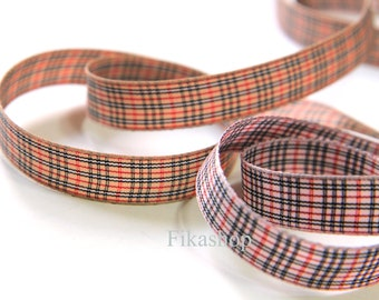 3 yards 5/8 inch 16mm Checkered Ribbon with Black and Red ( 2 Color ) - Fikashop