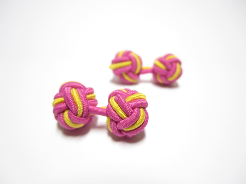 Boutons de manchette noeud chinois en rose jaune boutons - Mettre bouton de manchette ...