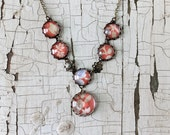 Romantic vintage wallpaper necklace - muted red