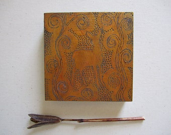 SALE- Fawn Miniature Gold Silhouette Painting on Wood