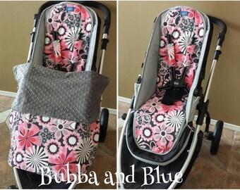 Winter Stroller/pram Set- Stroller blanket, stroller liner, and shoulder strap pads