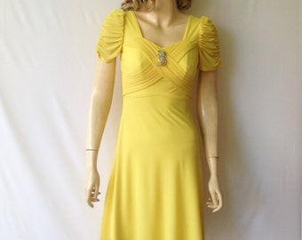 Daffodil Yellow Dress. Dress With Sleeves. Knee Length Dress