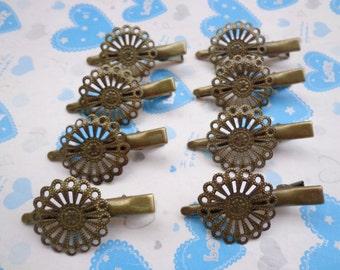 50 pcs( Flower size 25mm) antique bronze flower cap hair clips/hair pins