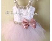 Flower Girl Dress - Lace Dress - Girls Lace Dress - Big Bow Dress - Tutu Dress - CRYSTAL DRESS (SHORT) - Wedding Dress by Isabella Couture