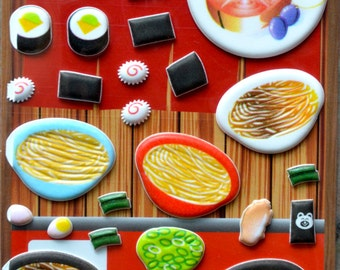 Japanese / Korean Puffy Sticker- Sushi and Ramen Noodle