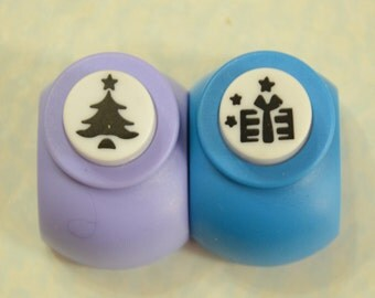 A Set of 2 Paper Punches- Christmas Tree and Present