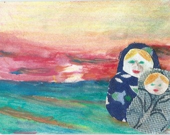 Original ACEO Painting Collage - Dolls with Sunset