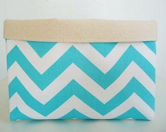 Storage Basket Fabric Organizer in Zig Zag Girly Blue Chevron and Natural Canvas, Toy, Nursery Storage, Home, Office  - Choose Size
