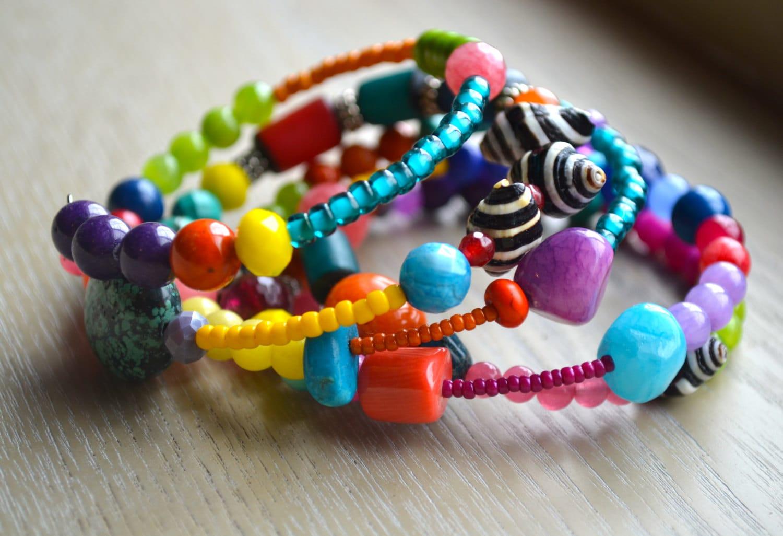 colorful wrap around bracelet by uniquebeadingbyme