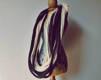 Black and Ecru Fabric Necklace