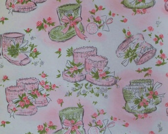 Vintage American Greetings BABY Girl - Gift Wrap - Wrapping Paper - PINK BOOTIES - 1950s