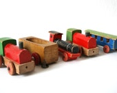 Wooden vintage miniature train collection