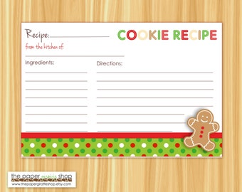 Editable Cookie Exchange Party Recipe Cards Editable and Blank | Cookie Swap Recipe Cards | Holiday Party | Recipe Card | Cookie Recipe Card