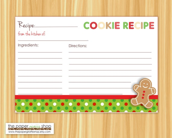 Editable cookie exchange party recipe cards editable and blank for Editable recipe card