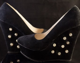 """Bullet Ammo Faux Suede Wedges-9mm bullets, Swarovski Crystals-One of a Kind - """"Bullet Babe"""" black wedges-ladies size 9"""