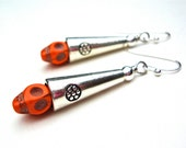 Sugar skull jewelry - orange sugar skull earrings - skull earrings - Halloween earrings - funky earrings by Sparkle City Jewelry