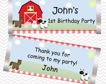 Barn Yard Red Gingham Farm Animals  - Personalized Candy Bar Wrapper