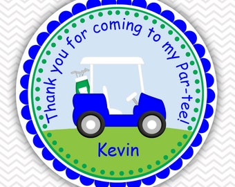 Golf Cart Blue - Personalized Stickers, Party Favor Tags, Thank You Tags, Gift Tags, Address labels, Birthday, Baby Shower